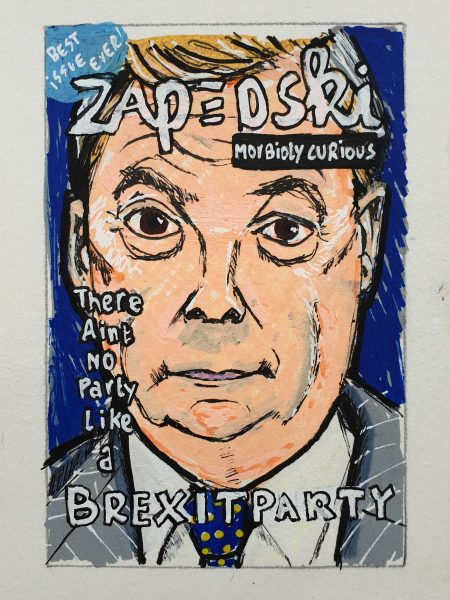 IISHOO Art Agency - Socially engaged original art under 100 on cotton canvas board created with paint markers by Zapedski about Nigel Farage Brexit Party