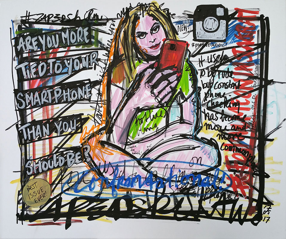 IISHOO Art Agency - Socially engaged original art under 250 on cotton canvas created with Paint Markers by Zapedski about cell phone addiction