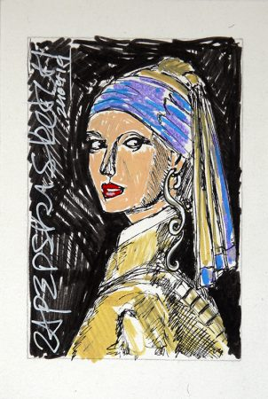 IISHOO Art Agency - Humorous original art under 100 on paper created with paint markers by Zapedski about the girl with the pearl earring