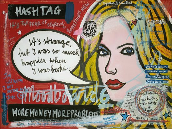 IISHOO Art Agency - Socially involved and inspirational original art under 500 on canvas created with mixed media by Zapedski about money