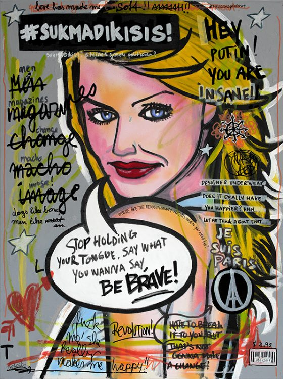 IISHOO Art Agency - Socially involved and inspirational original art under 500 on canvas created with mixed media by Zapedski about being brave