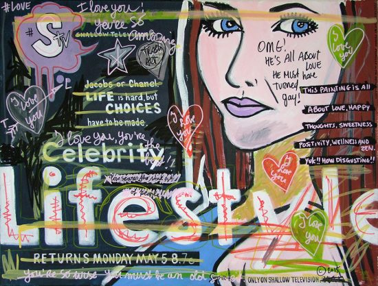 IISHOO Art Agency - Socially involved and inspirational original art under 500 on canvas created with mixed media by Zapedski about shallowness