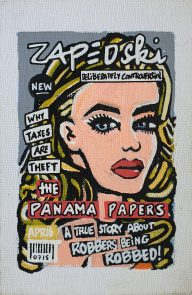 IISHOO Art Agency - Socially engaged original art under 100 on cotton canvas board created with paint markers by Zapedski about the panama papers