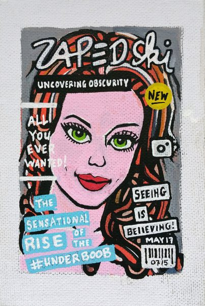 IISHOO Art Agency - Socially engaged original art under 100 on cotton canvas board created with paint markers by Zapedski about the underboob fashion trend
