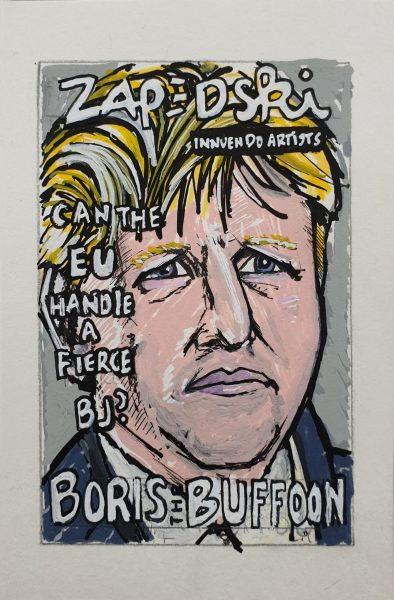 IISHOO Art Agency - Socially engaged original art under 100 on cotton canvas board created with paint markers by Zapedski about Boris Johnson