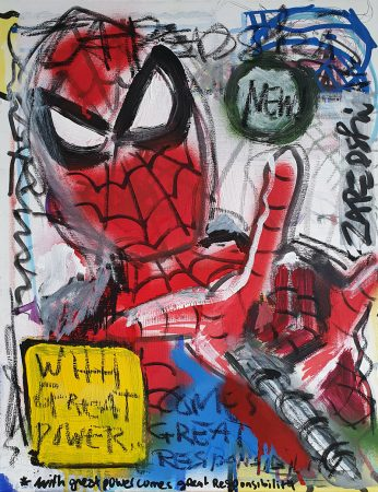 IISHOO Art Agency - neo expressionistic original art under 100 on cotton canvas created with mixed media by Zapedski