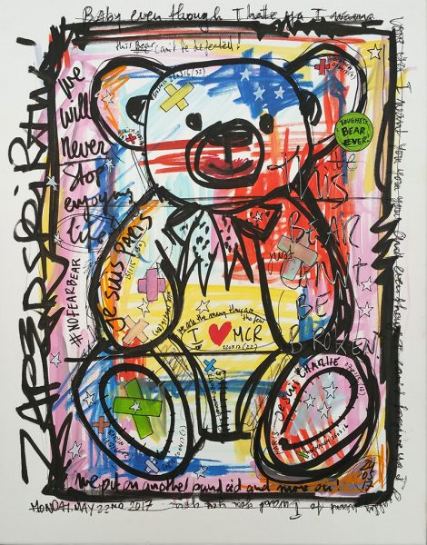 IISHOO Art Agency - Socially engaged original art under 250 on cotton canvas created with Paint Markers by Zapedski about Manchester terrorist attack