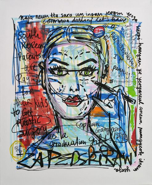 IISHOO Art Agency - Socially engaged original art under 250 on cotton canvas created with Paint Markers by Zapedski about plastic surgery