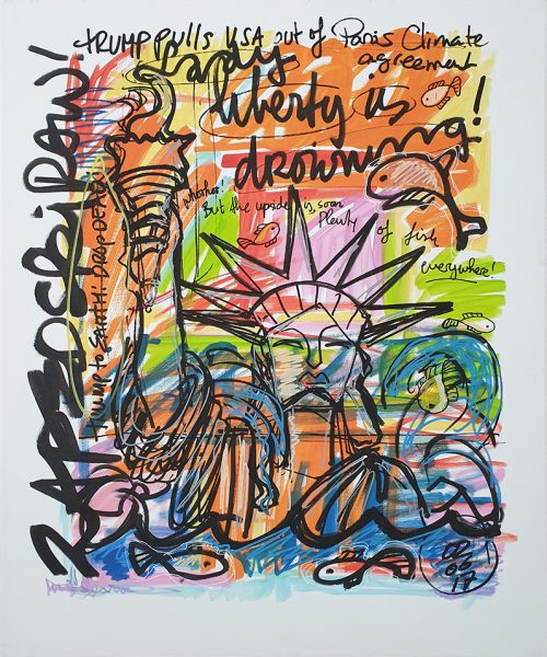 IISHOO Art Agency - Socially engaged original art under 250 on cotton canvas created with Paint Markers by Zapedski about Trump's Paris Climate Agreement withdrawal