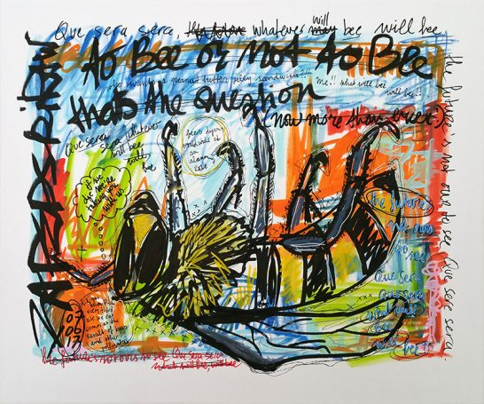 IISHOO Art Agency - Socially engaged original art under 250 on cotton canvas created with Paint Markers by Zapedski about bees dying worldwide at alarming rate