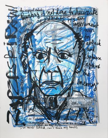 IISHOO Art Agency - Socially engaged original art under 250 on cotton canvas created with Paint Markers by Zapedski about Picasso